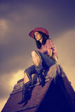 Rural woman in hat Royalty Free Stock Image
