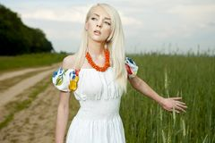 Rural woman standing by the field Stock Photography