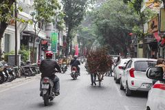 Rural women selling flowers on the streets of Hanoi in the early morning Royalty Free Stock Image