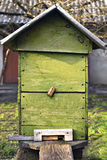 Rural wooden bee hive. Bee-garden. Old beehive at farm Royalty Free Stock Image