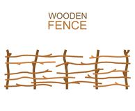 Rural wooden farm branches fence rustic wood construction Royalty Free Stock Photography