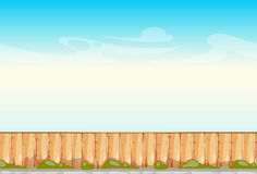 Rural wooden fence blue sky vector background Stock Images
