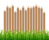 Rural wooden fence, palisade in green grass vector illustration. Garden wood farm fence Royalty Free Stock Photos