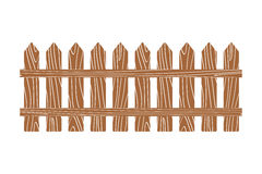 Rural wooden fence vector illustration white Royalty Free Stock Images