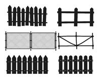 Rural wooden fences, pickets vector silhouettes Stock Images