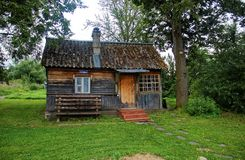 Rural wooden house in the summer in Russia royalty free stock photo