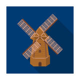 Rural wooden mill. Mill for grinding grain into flour.Farm and gardening single icon in flat style vector symbol stock Stock Image