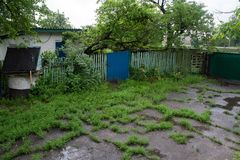 Rural yard after the rain overgrown with grass and poddles royalty free stock images