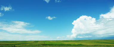 Rurality. Under the blue sky and white clouds, the beautiful rurality Royalty Free Stock Image
