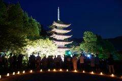 Ruriko-Ji Temple, the candle lights festival. Stock Images