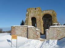 Rurikovo gorodosche在冬天 库存照片