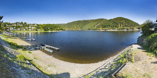 Rursee wioski Rurberg panorama, Niemcy Obrazy Royalty Free