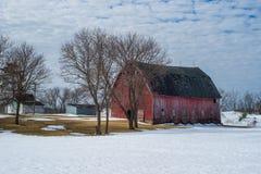 Rurual gospodarstwo rolne, zima, Wisconsin Zdjęcie Royalty Free