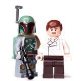 RUS, SAMARA, 16 JANUARI, de Aannemer Lego Star Wars van 2019 De Gulle giftjager en Han Solo van Bobafett stock fotografie