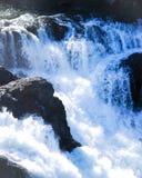 Rusa vårmelt bevattnar att flöda över vattenfallet arkivfoton