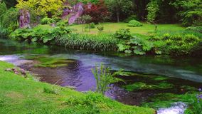 Ruscello del giardino dell'Eden che zampilla sull'acqua di ruscello del fiume in autunno video d archivio