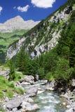 Ruscello rapido vicino al passaggio di Chiusa in alpi svizzere Immagini Stock Libere da Diritti