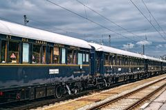 Orient Express. Ruse city, Bulgaria - August 29, 2017. The legendary Venice Simplon Orient Express is ready to depart from Ruse Railway station. Bar car. The royalty free stock images