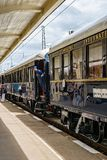 Orient Express. Ruse city, Bulgaria - August 29, 2017. The legendary Venice Simplon Orient Express is ready to depart from Ruse Railway station. Bar car. The stock photo