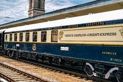 Orient Express. Ruse city, Bulgaria - August 29, 2017. The legendary Venice Simplon Orient Express is ready to depart from Ruse Railway station. Bar car. The royalty free stock photo