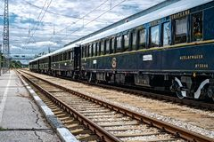 Orient Express. Ruse city, Bulgaria - August 29, 2017. The legendary Venice Simplon Orient Express is ready to depart from Ruse Railway station. Bar car. The stock images