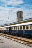 Venice Simplon Orient Express. Ruse city, Bulgaria - August 29, 2017. The legendary Venice Simplon Orient Express is ready to depart from Ruse Railway station royalty free stock photos
