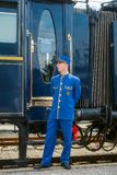 Venice Simplon Orient Express. Ruse city, Bulgaria - August 29, 2017. The legendary Venice Simplon Orient Express is ready to depart from Ruse Railway station stock photography