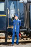 The Orient Express. Ruse city, Bulgaria - August 29, 2017. The legendary Venice Simplon Orient Express is ready to depart from Ruse Railway station. Chief wagon stock image