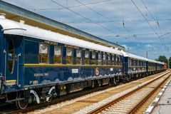 Venice Simplon Orient Express. Ruse city, Bulgaria - August 29, 2017. The legendary Venice Simplon Orient Express is ready to depart from Ruse Railway station in royalty free stock photography