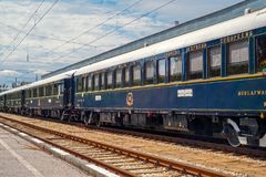 Venice Simplon Orient Express. Ruse city, Bulgaria - August 29, 2017. The legendary Venice Simplon Orient Express is ready to depart from Ruse Railway station stock images