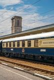 Venice Simplon Orient Express. Ruse city, Bulgaria - August 29, 2017. The legendary Venice Simplon Orient Express is ready to depart from Ruse Railway station royalty free stock image