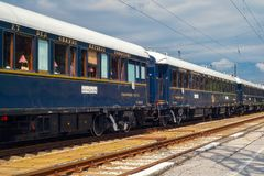 Venice Simplon Orient Express. Ruse city, Bulgaria - August 29, 2017. The legendary Venice Simplon Orient Express is ready to depart from Ruse Railway station royalty free stock photography