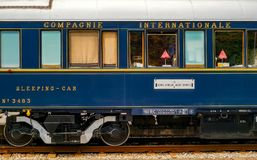 Venice Simplon Orient Express. Ruse city, Bulgaria - August 29, 2017. The legendary Venice Simplon Orient Express is ready to depart from Ruse Railway station stock image