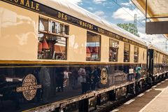 The legendary Venice Simplon Orient Express. Ruse city, Bulgaria - August 29, 2017. The legendary Venice Simplon Orient Express is ready to depart from Ruse royalty free stock photography