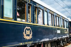 The Orient Express. Ruse city, Bulgaria - August 29, 2017. The legendary Venice Simplon Orient Express is ready to depart from Ruse Railway station. Sleeper. The stock images