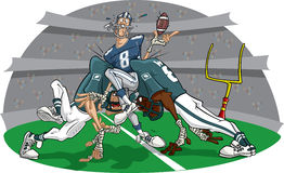Rush in American Football game #4. Defense not strong enough. The poor quarteback suffers Stock Image
