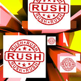 Rush On Cubes Showing Express Delivery Stock Photography