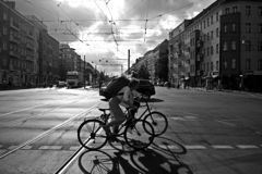Rushhour with cyclists at day royalty free stock photos
