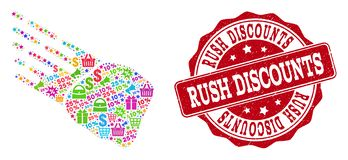Rush Discounts Composition of Mosaic and Distress Stamp for Sales vector illustration