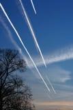 Rush Hour. Sky full of flying jets Stock Photo