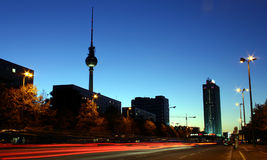 Rush Hour 2. Former East Berlin by night stock photography