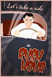 Rush hour. Furious retro cartoon man in rush hour Stock Images