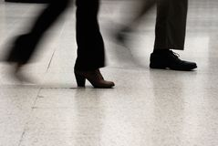 Rush Hour. Rushing feet at Waterloo train station, London royalty free stock photos