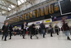 Rush Hour. At Waterloo train station, London royalty free stock photos