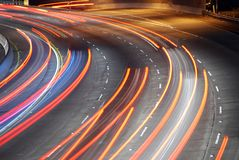 Rush Hour. Vehicles streaking down the 101 Freeway at rush hour in Los Angeles, California Royalty Free Stock Photos