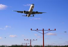 Rush hour. First wave of flights arrives at their hub airport Stock Photos