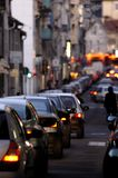 Rush Hour. Traffic in the evening waiting at a red light stock photography