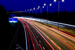 Rush Hour. Trails of light on a busy motorway Stock Images