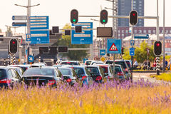 Rush hour in Amsterdam, The Netherlands. Busy traffic during rush hour in Amsterdam, The Netherlands Royalty Free Stock Image