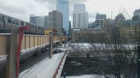 Winter Rush Hour in Chicago`s West Loop neighborhood.